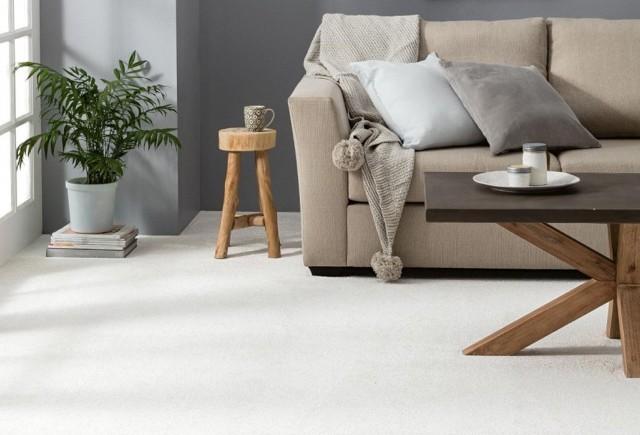 White Carpet in Living room | Markville Carpet & Flooring