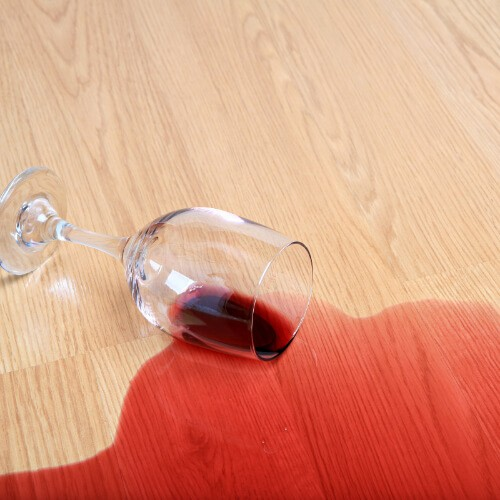 Red wine spill on laminate flooring | Markville Carpet & Flooring